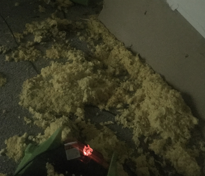 yellow insulation on the floor